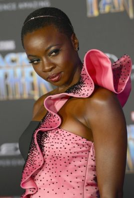 "HOLLYWOOD, CA - JANUARY 29: Actress Danai Gurira arrives for the premiere of Disney and Marvel's ""Black Panther"" held at Dolby Theatre on January 29, 2018 in Hollywood, California. (Photo by Albert L. Ortega/Getty Images)"