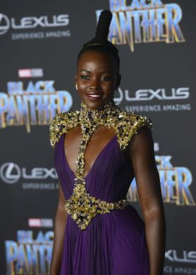 "HOLLYWOOD, CA - JANUARY 29: Actress Lupita Nyong'o arrives for the premiere of Disney and Marvel's ""Black Panther"" held at Dolby Theatre on January 29, 2018 in Hollywood, California. (Photo by Albert L. Ortega/Getty Images)"
