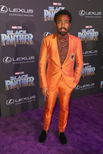LOS ANGELES, CA - JANUARY 29: Donald Glover arrives for the World Premiere of Marvel Studios' Black Panther, presented by Lexus, at Dolby Theatre in Hollywood on January 29th. (Photo by Joe Scarnici/Getty Images for Lexus)