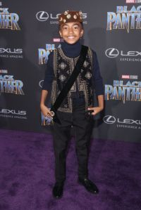 HOLLYWOOD, CA - JANUARY 29: Actor Miles Brown at the Los Angeles World Premiere of Marvel Studios' BLACK PANTHER at Dolby Theatre on January 29, 2018 in Hollywood, California. (Photo by Jesse Grant/Getty Images for Disney)