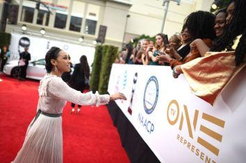 Mandatory Credit: Photo by Michael Buckner/Variety/REX/Shutterstock (9321924bc) Logan Browning and fans NAACP Image Awards, Arrivals, Los Angeles, USA - 15 Jan 2018